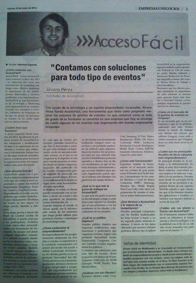 """""""Contamos con soluciones para todo tipo de eventos"""" Diario Crónicas, sección Empresas & Negocios."""