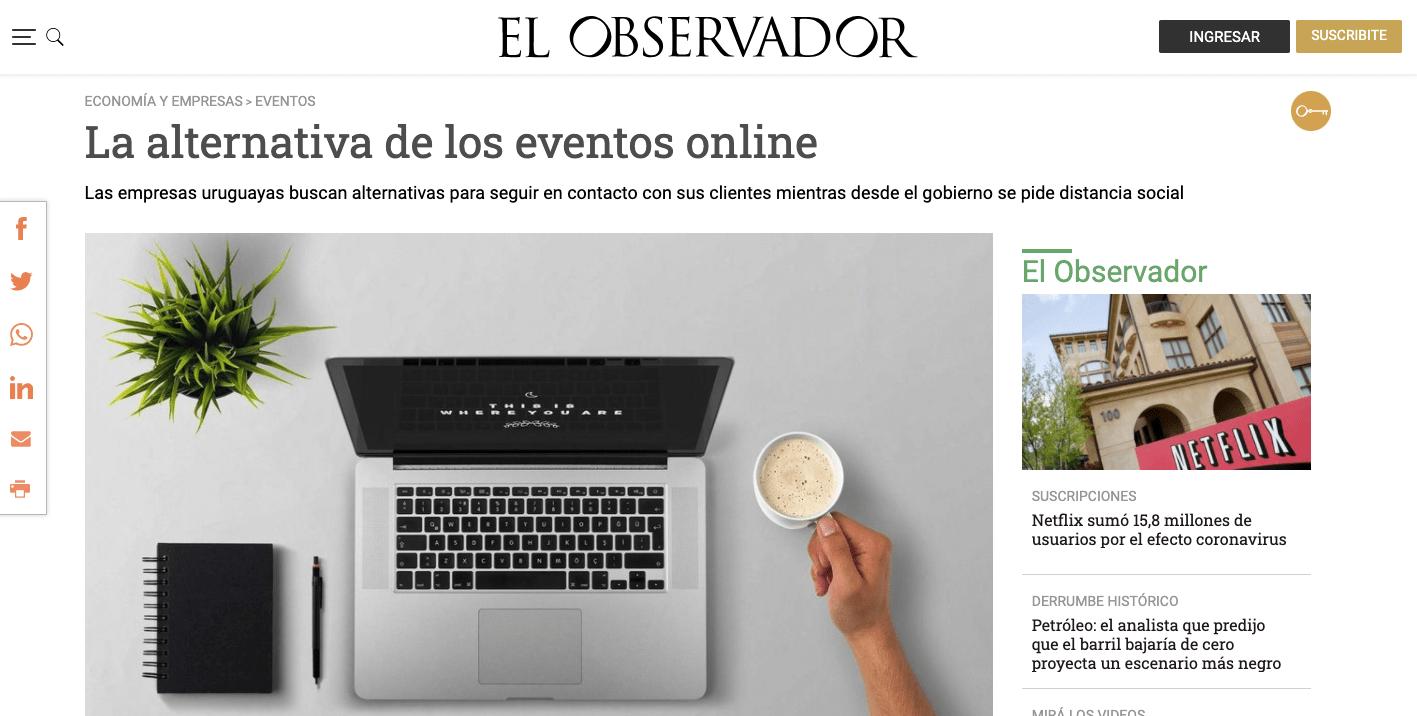 Nota: El Observador. «La alternativa de los eventos online»