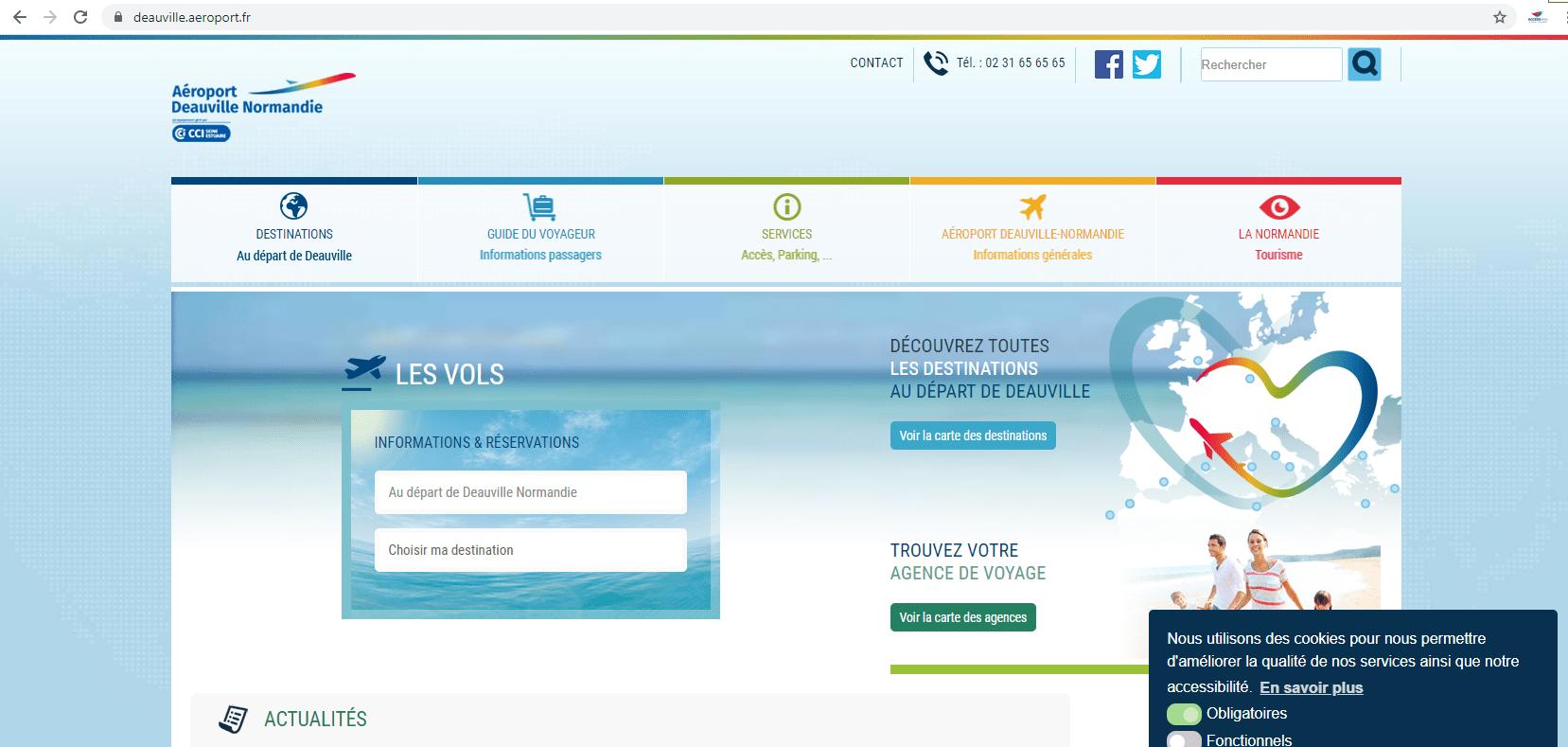 Le site internet de l'Aéroport de Deauville-Normandie pilotable sans contact.