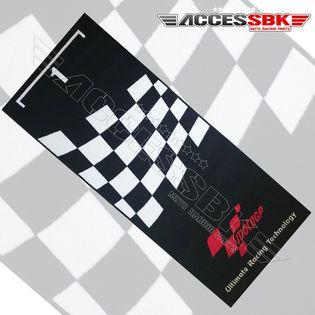 motogp tapis de stand noir damier blanc
