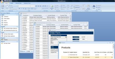 Microsoft Access screens