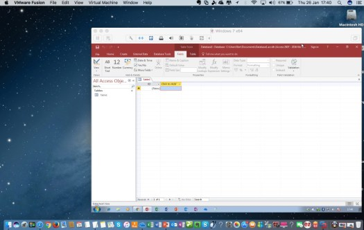 microsoft access database vmware on a mac