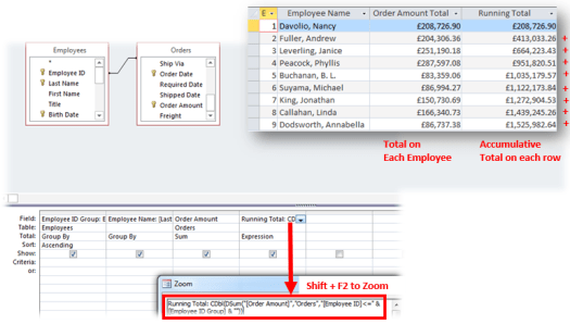 running totals query in microsoft access