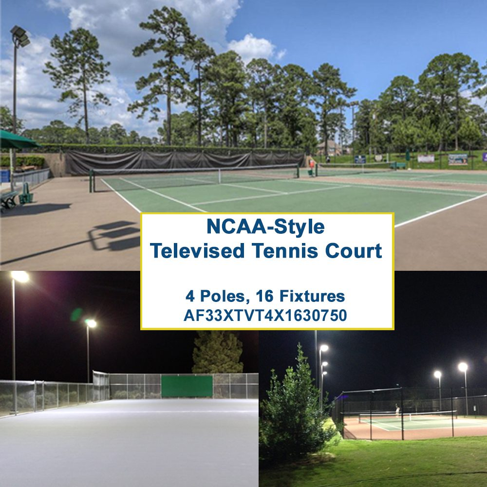 ncaa level led tennis package 4 poles 16 fixtures 117 avg fc 2 05 max min