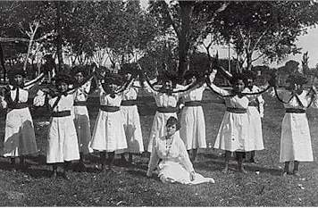 Albuquerque Indian School female students participating in a festival