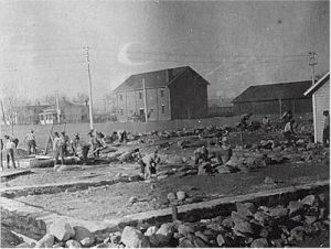 Construction workers at the Albuquerque Indian School