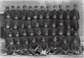 Albuquerque Indian School Class of boys in uniform