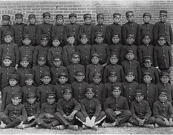 Albuquerque Indian School Class of boys in uniform