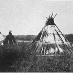 Ojibway camp on bank of Red River. Photograph by H. L. Hime, 1858.