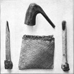Ojibway hammer, bag, and two skin-dressing tools.