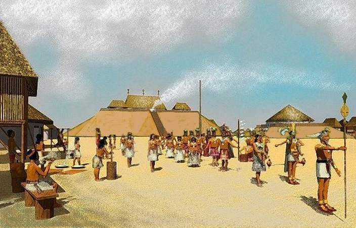 This scene portrays a wedding procession around the year 1100 AD.