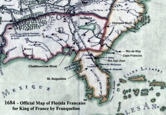 1684 Official Map of Florida Française by Franqueline