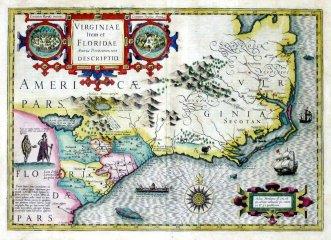 1606 Mercater - Hondius Map of Virginia and Florida