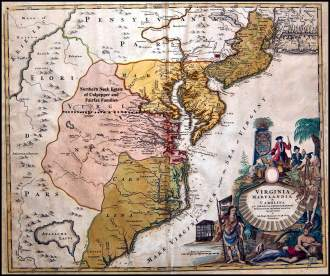 1714 map of Virginia, Maryland, Carolina and Pennsylvania