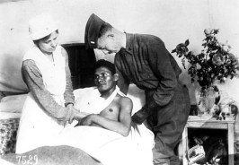 Wounded Choctaw soldier in World War I, U.S. National Red Cross Hospital No. 5, Auteuil, France