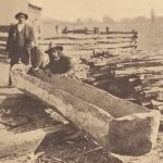 Dugout canoe of the Pamunkey in course of construction.