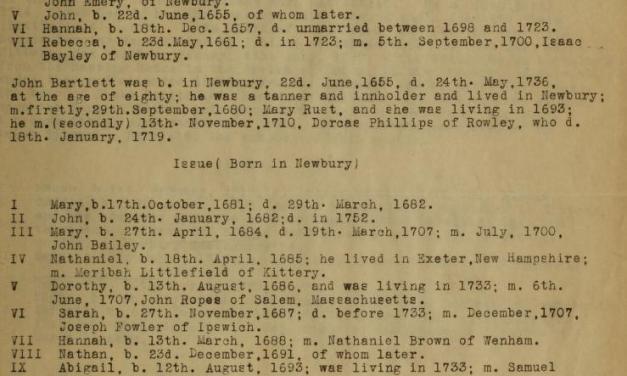 Bartlett Family Genealogy