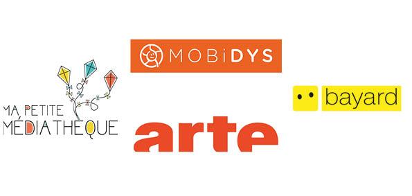 Logo de Mobidys, ma petite Médiathèque, Arte et Bayard