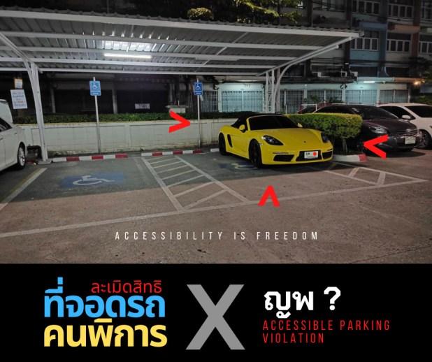 ภาพ รถสปอร์ตสีเหลืองจอดบนพื้นที่จอดรถคนพิการ