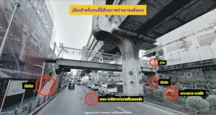 ภาพ ภูมิทัศน์เมือง ถนน สะพานลอยและเกาะกลาง พร้อมการกำหนดจุดที่เข้าไม่ถึง