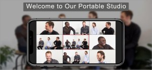 tv studio on iphone with four hosts vlogging