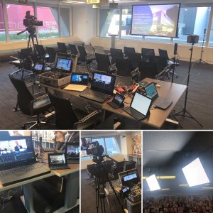 showing corporate webcast marketing strategies with setup of cameras and lighting
