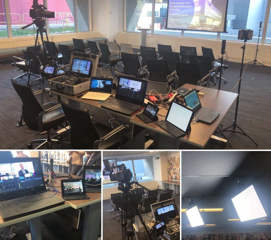 showing corporate webcasting setup of cameras and lighting