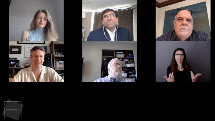 Max Brault of BDO Canada, Mahadeo Sukhai of CNIB, Alfred Spencer are interviewed by Beth Robertson of the Conference Board of Canada about Life After Covid-19 for persons with disabilities on Accessibility TV