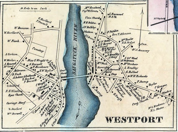 Westport on Clark's map of Fairfield County, Connecticut from 1856