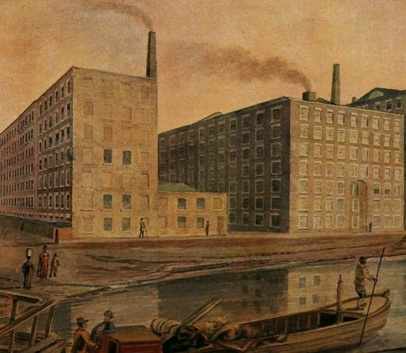 Ancoats, Manchester. McConnel & Company's mills, about 1820. From an old water-colour drawing of the period.