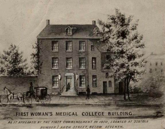 First building of the Woman's Medical College of Pennsylvania, 627 Arch Street, Philadelphia, PA, as it appeared in 1850.