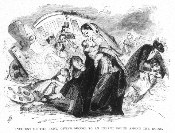 Lady Giving Succor to an Infant Found Among the Ruins