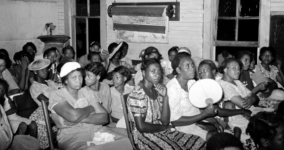 Group of Negro women at revival meeting, La Forge, Missouri