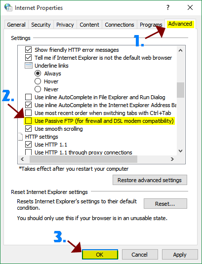 IE Settings / Disable PASV Mode for FTP