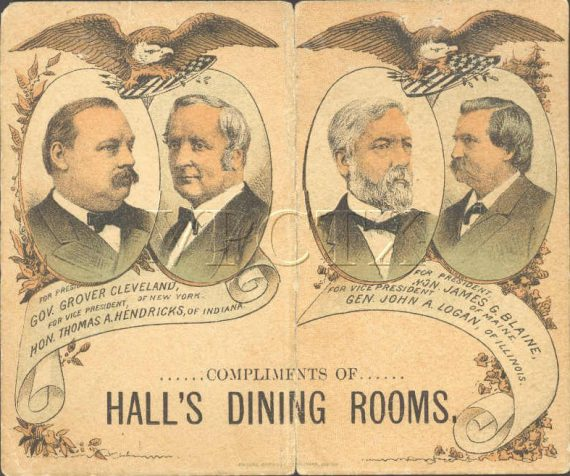 Dance card (illustrated cover side) depicting Democratic and Republican candidates (Grover Cleveland, James G. Blaine, etc.) in the United States presidential election, 1884.