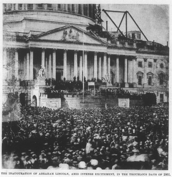 The inauguration of Abraham Lincoln, amid intense excitement, in the troubled days of 1861.