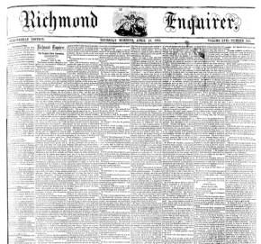 Richmond Enquirer on April 18, 1861