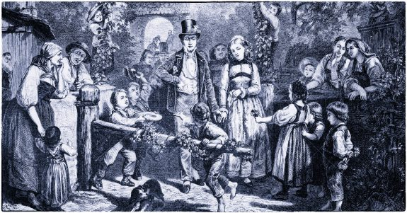 Germany countryside, rural marriage, XIX century engraving