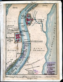 Map showing the defenses of the Mississippi below New Orleans and Farragut's attack on April 24, 1862
