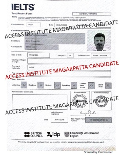 Latest IELTS Result ACCESS Magarpatta: Overall Band 8 5 in