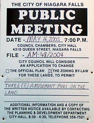 Publc Meeting Notice for Amusement Rides