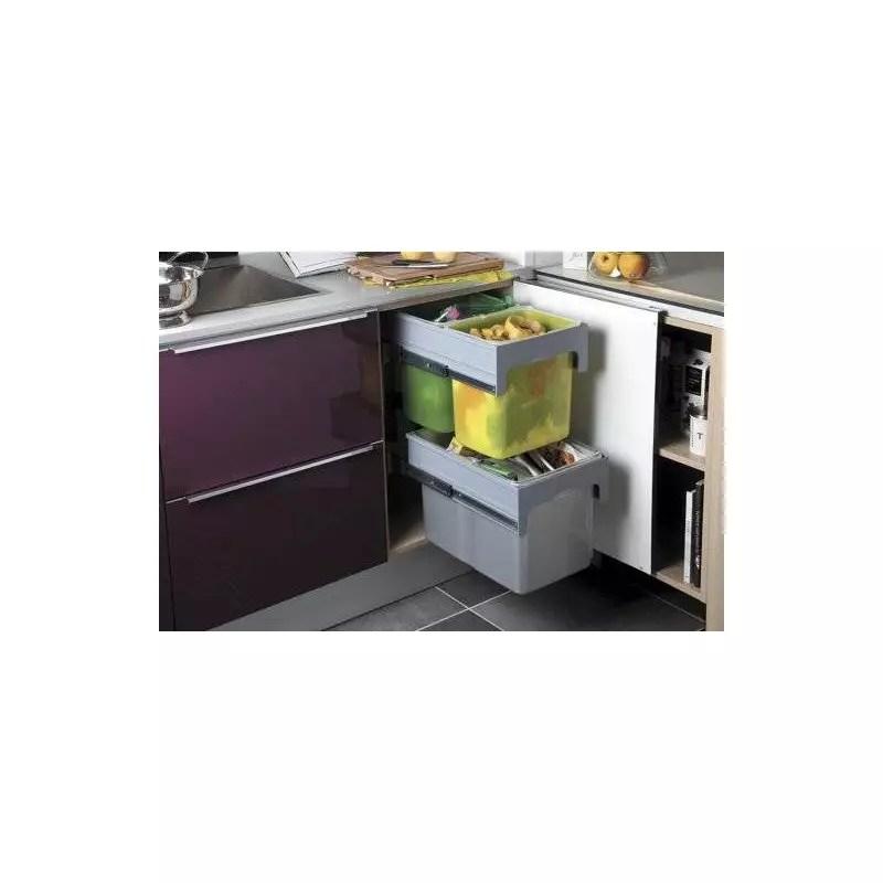 poubelle coulissante tri selectif 2 niveaux accessoires de cuisines