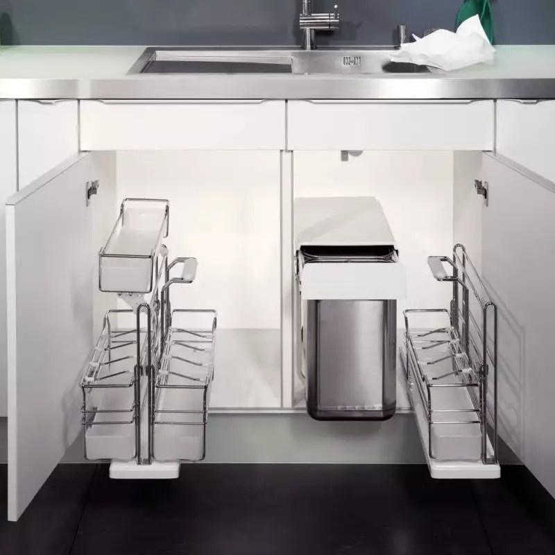 rangement coulissant placard sous evier accessoires de cuisines