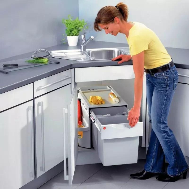 poubelle pivotante rondo 2 bacs meuble d angle accessoires de cuisines