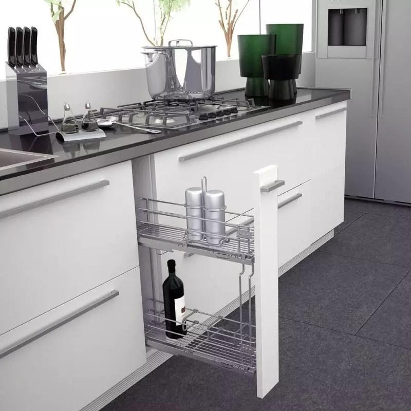 amenagement coulissant meuble bas etroit accessoires de cuisines