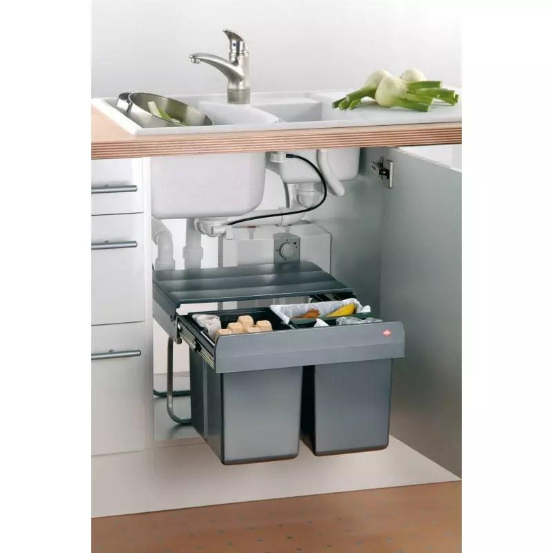 poubelle tri selectif sous evier 2 bacs accessoires de cuisines