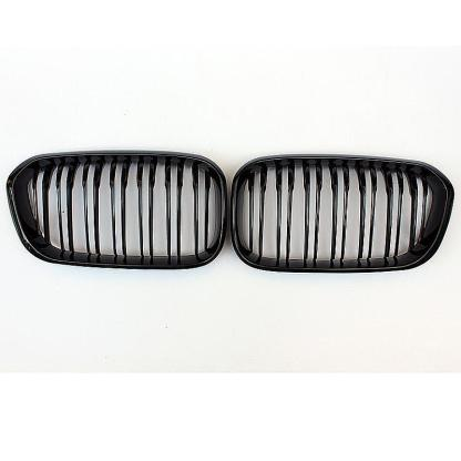 2X Gloss Black Dual Line Kindey Grille Grill For BMW F20 F21 LCI 118i 120i 15-16