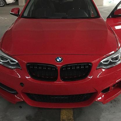 Dual Line Gloss Black Front Grill For BMW 2 Series F22 F23 F87 M2 M235i 2014+