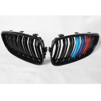 Pair Gloss Black Dual Line M-Color Sport Grille For BMW F34 3-Series GT 14-17