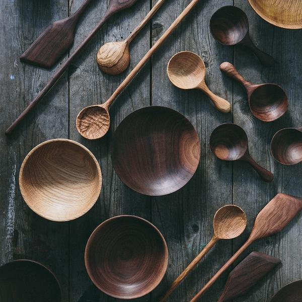forest and found handcrafted oak spoons - the future kept